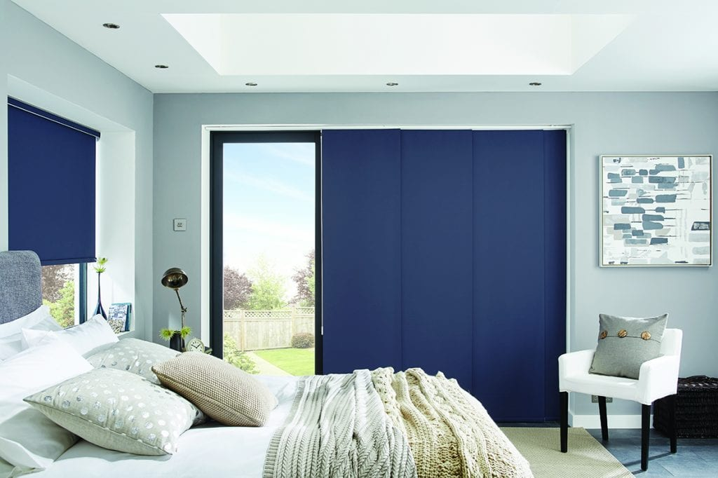 Part open blue panel blinds