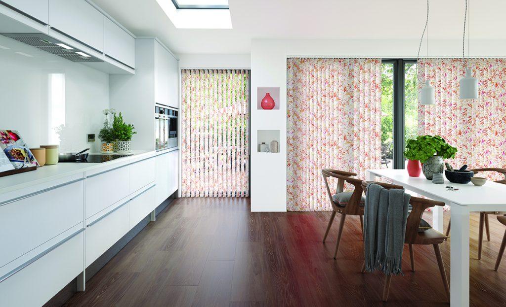 Vertical blinds made using Tropicana Singapore Sling fabric