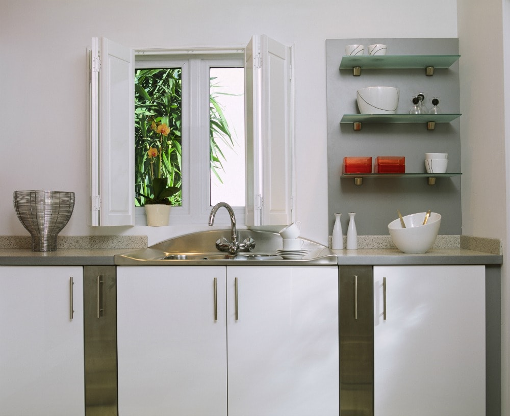 White solid kitchen shutters