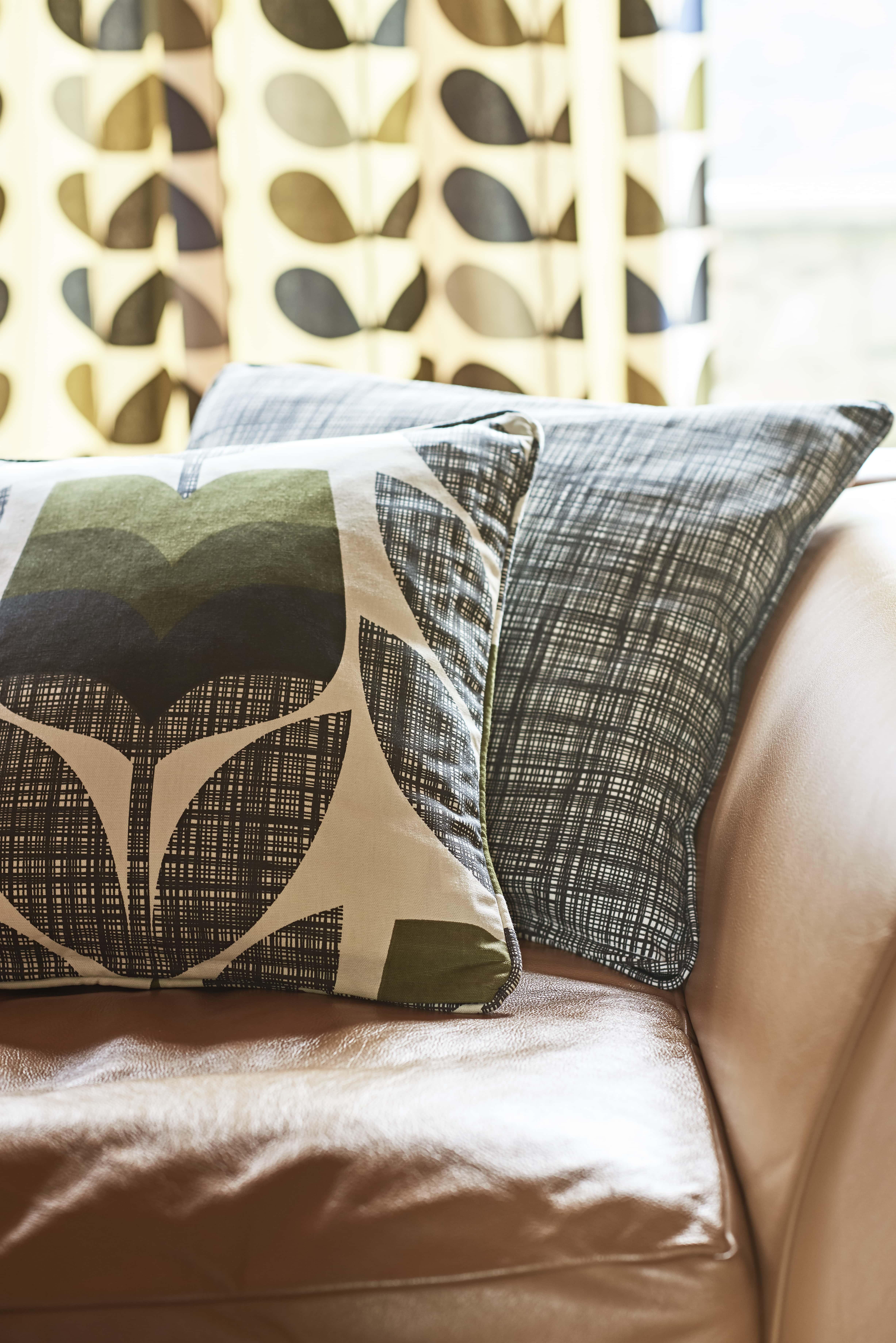 Orla Kiely design cushions and curtains