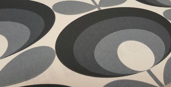 Grey and cream Orla Kiely fabric design