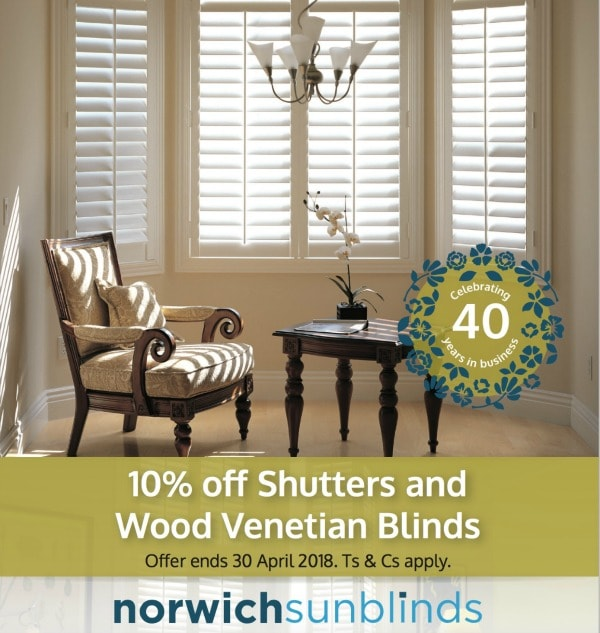 10% off shutters and wood venetians