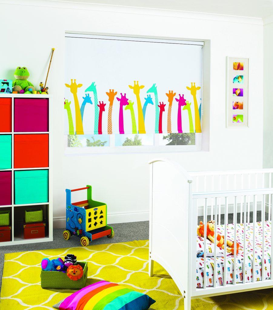 Multi-coloured giraffe heads on white background roller blind in child's bedroom