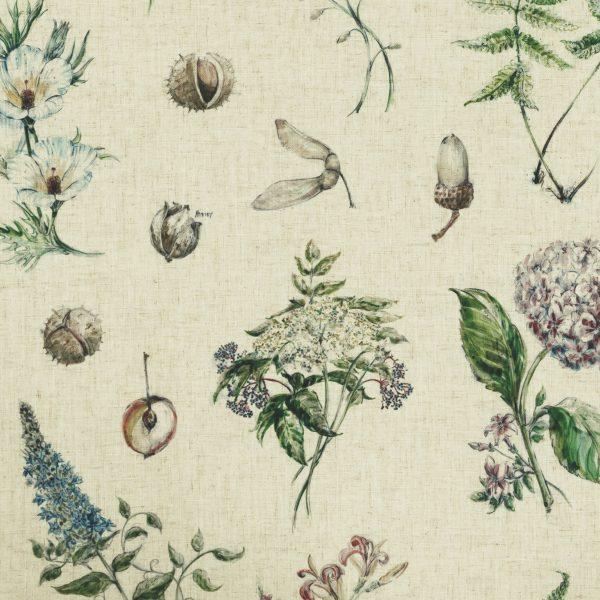 fabric sample of botanical images