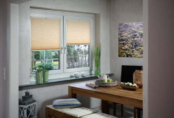 Vanilla coloured roller blinds
