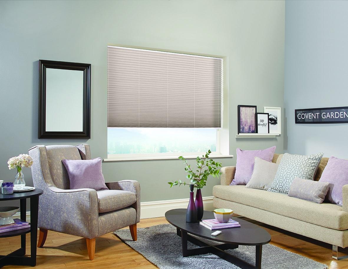 Pleated blinds in shot silk Portobello fabric by Louvolite
