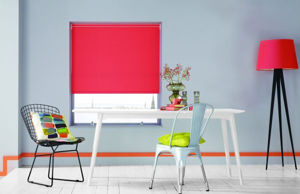 Roller blind fabric in Carnival Coral by Louvolite