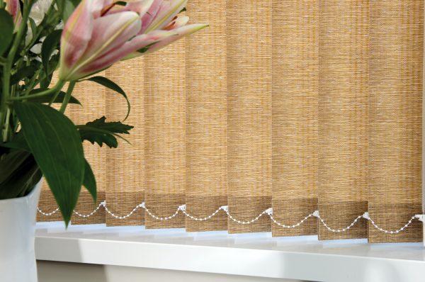 Stylish vertical blind, fabric by RA Irwin