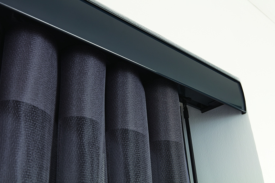 Close up of pewter colour Allusion Blind headrail