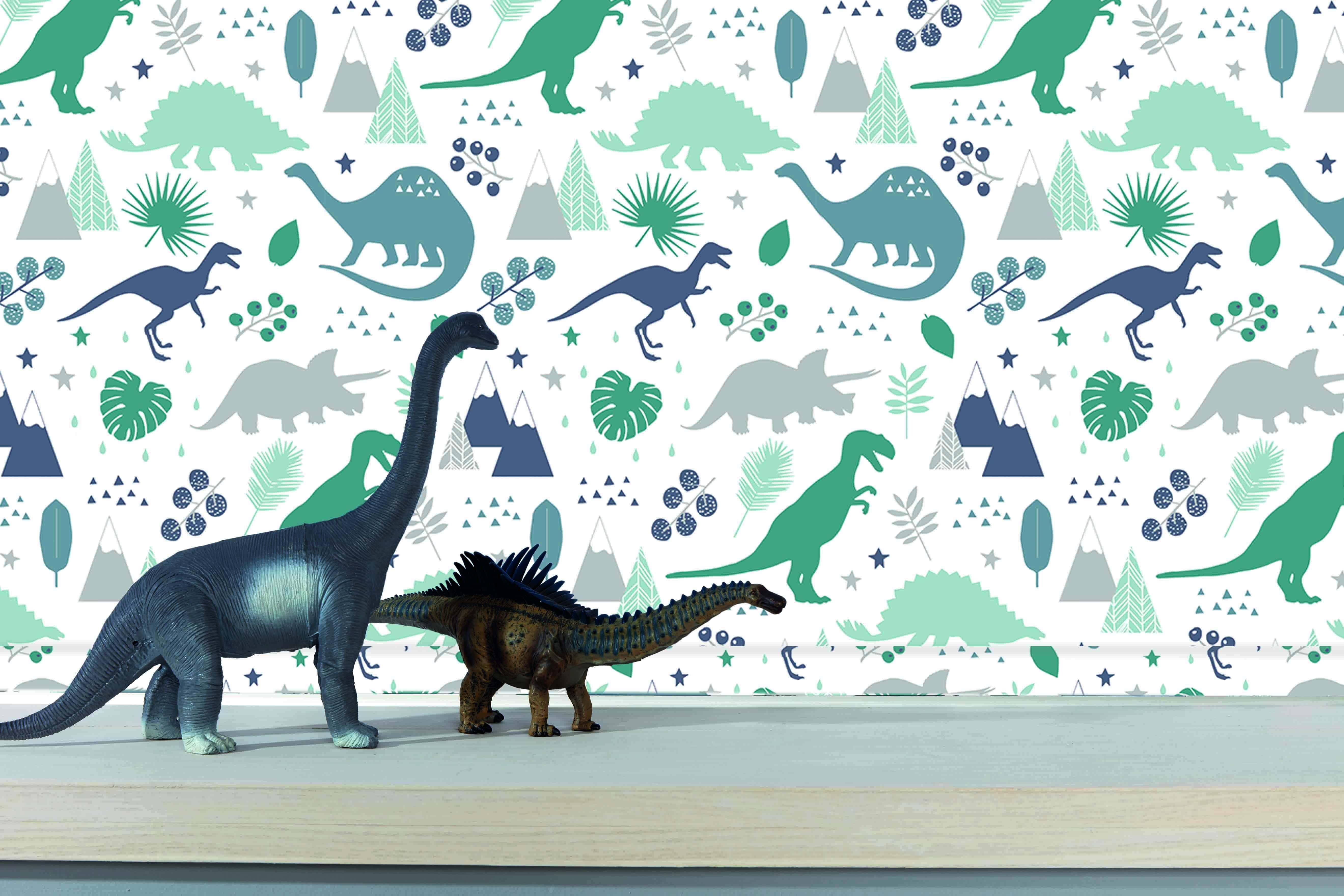 Jurassic roller blind design. Dinosaurs in shades of green on cream background