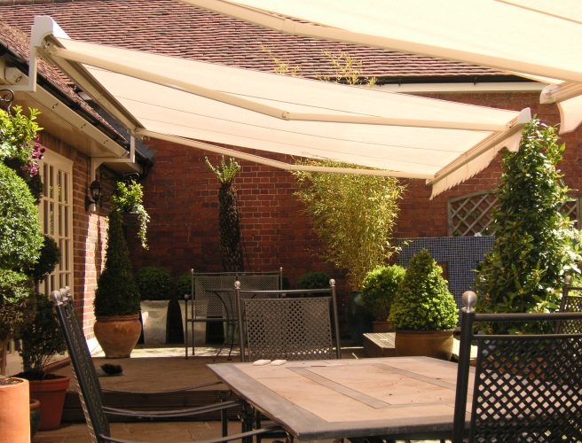 Cream garden awnings
