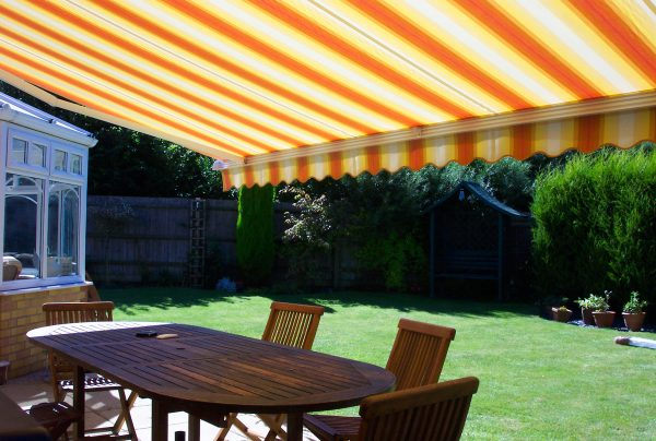 Brightly striped awnings from Norwich Sunblinds