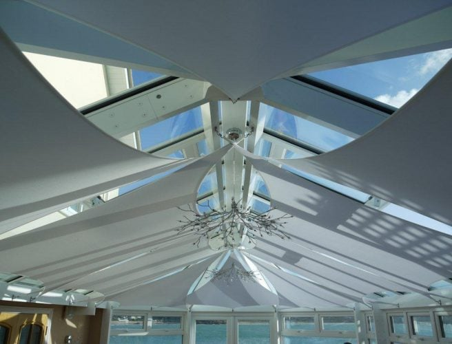 Clinton sails installed in a conservatory to regulate the temperature.