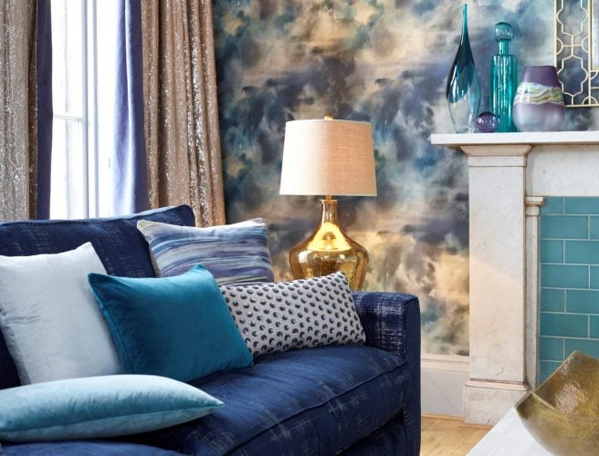 Curtains for the lounge from Norwich Sunblinds with fabric sourced from Voyage