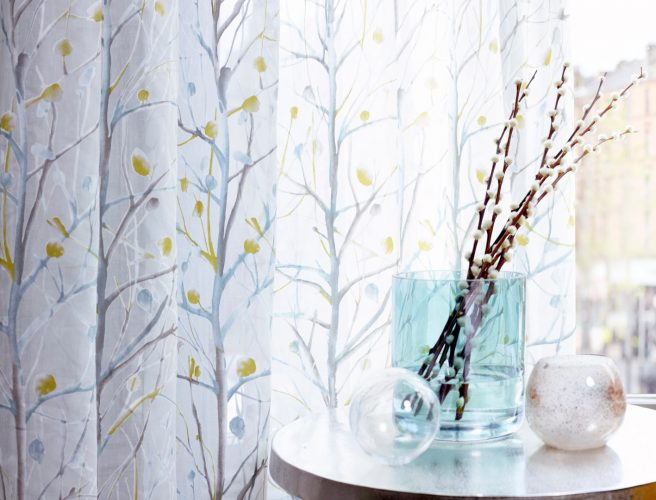Silhouettes of trees on light Curtain fabric