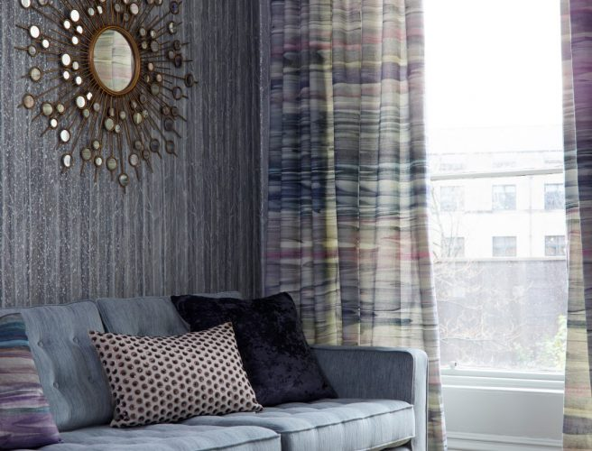 Norfolk made to measure curtains in blue tones