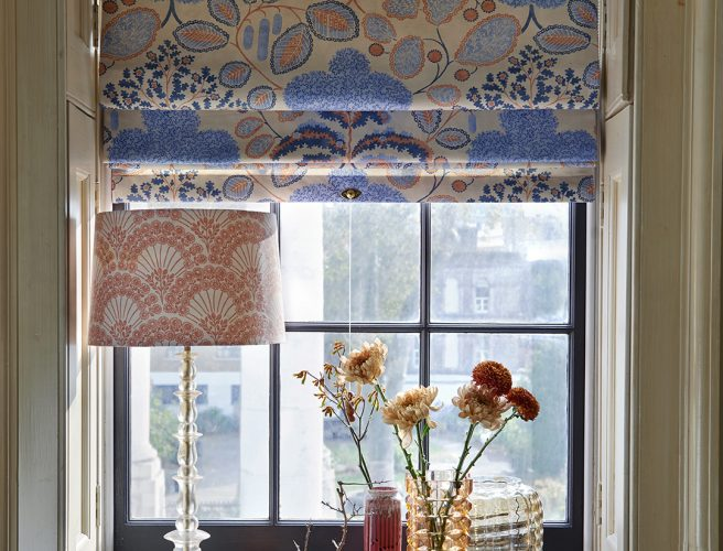 Roman blinds made from Bloomsbury design fabric