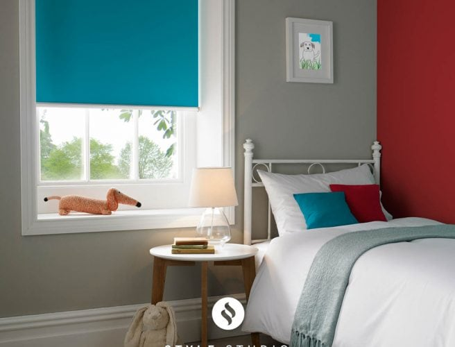 Eclipse Style Studio bold colour roller blind for childs bedroom