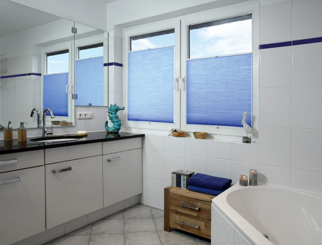 Blue Causeway Perfect fit pleated bathroom blinds