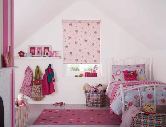 Childrens bedroom roller blackout blinds.