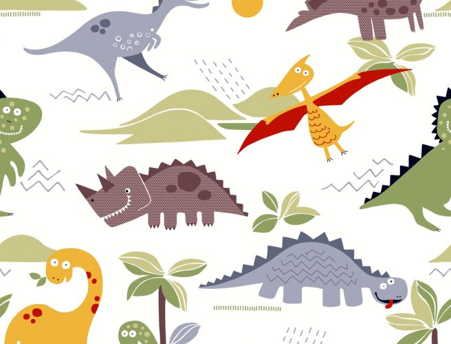 Close up of Dino Design fabric for childrens blinds