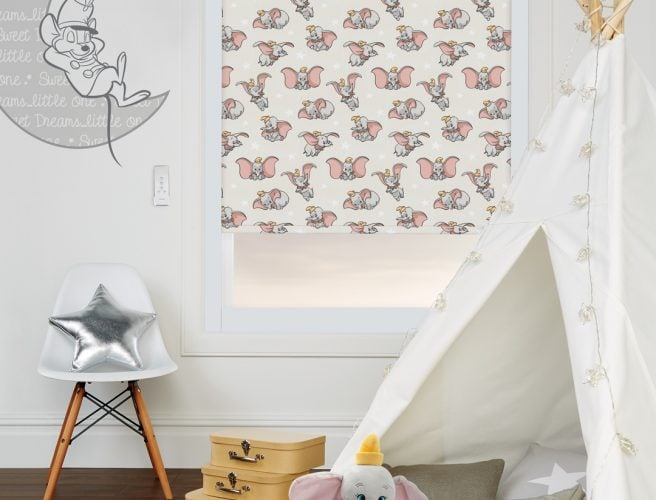 Disney Dumbo roller blind in child's playroom