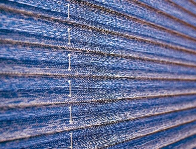 blue pleated blind fabric