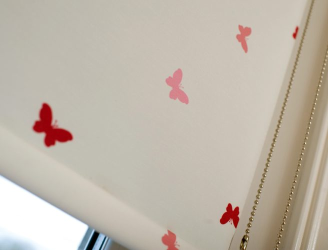 Close up of RAirwin flutterbys fabric for blinds