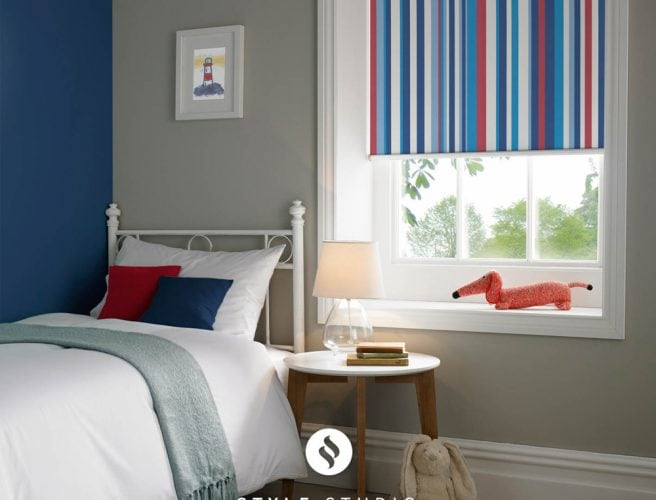 Funky stripe blackout childrens roller blind