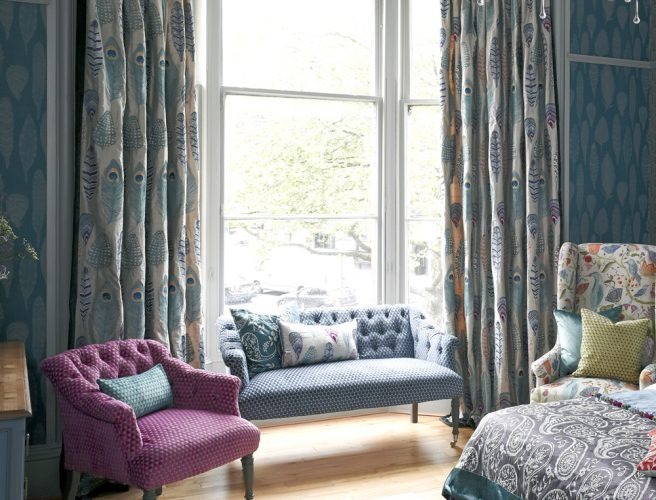 Feather design in Voyage fabrics in made to measure bedroom curtains