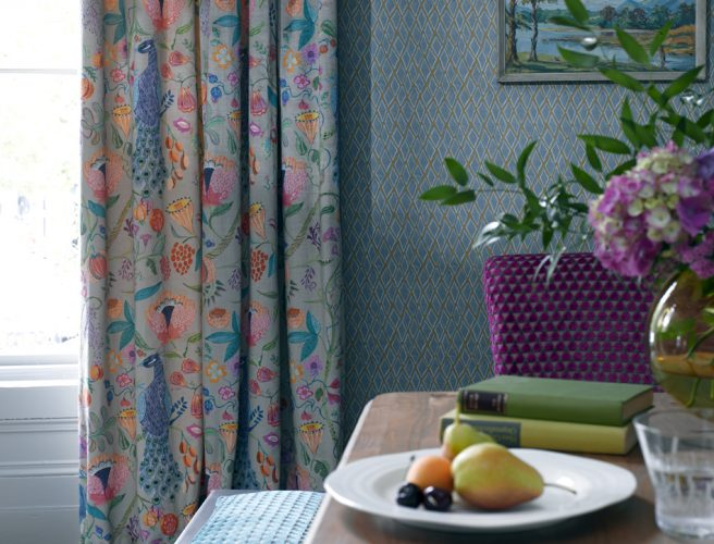 Brightly patterned Curtain fabric from Voyage