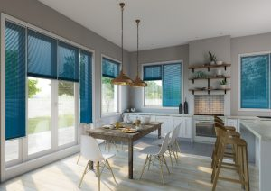 Turquoise kitchen diner venetian blinds