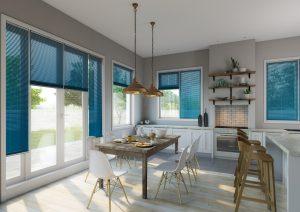 Turquoise kitchen diner venetian blinds. Blinds Norfolk - Norwich Sunblinds