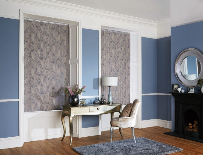 Botanica Forget Me Not Vertical Blinds in a Living Room