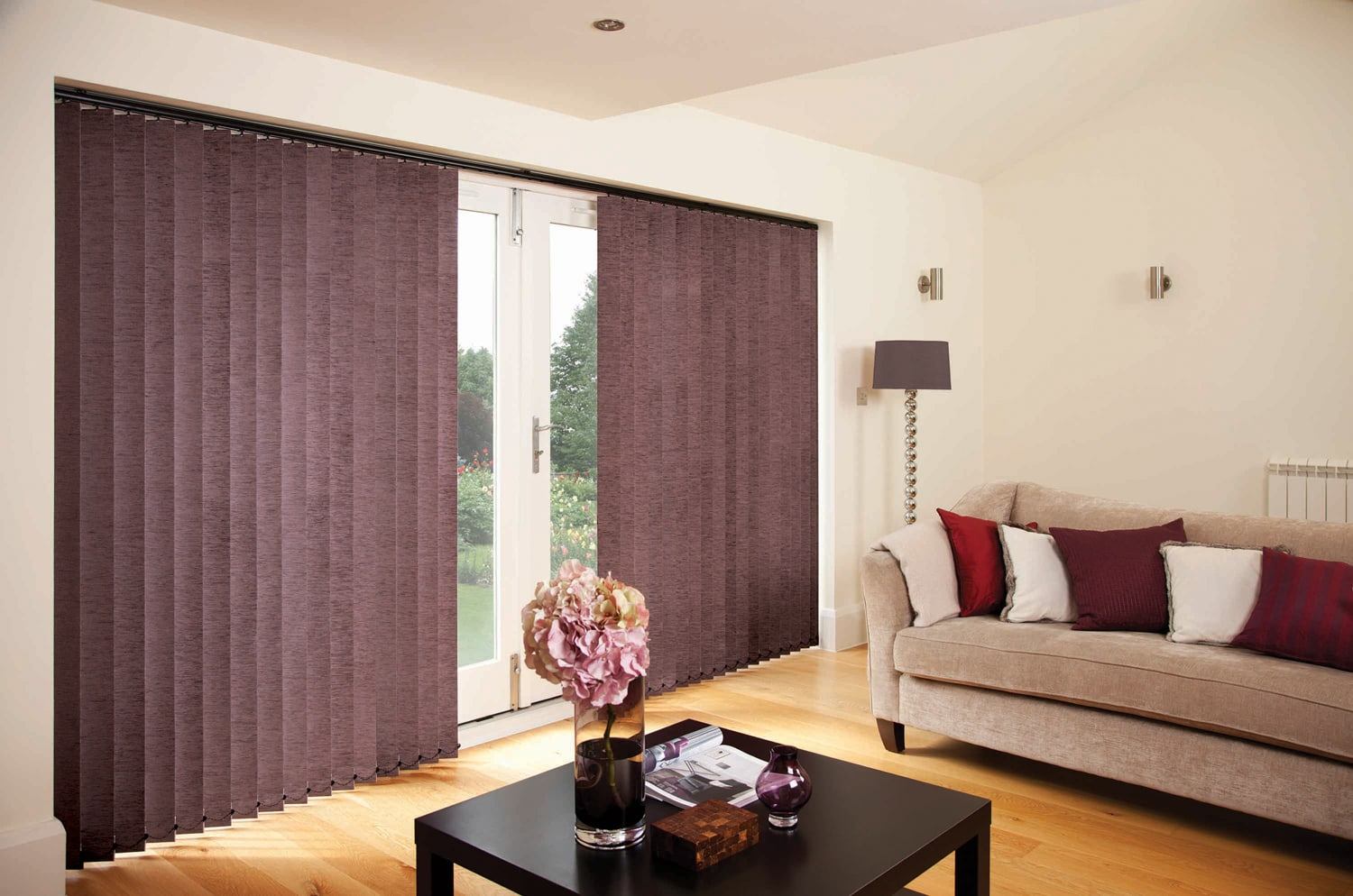 Chenille Full Length vertical Blinds with Patio Doors