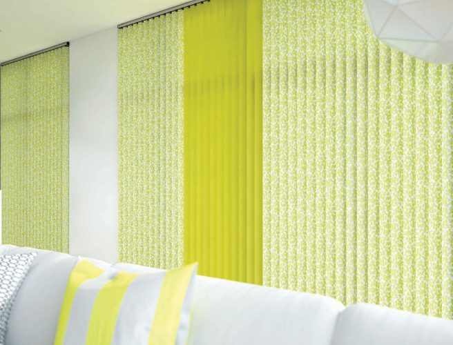 Confetti Chartreuse Vertical Blinds