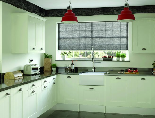 Louvolite Cellular Lina Slate Grey kitchen blinds