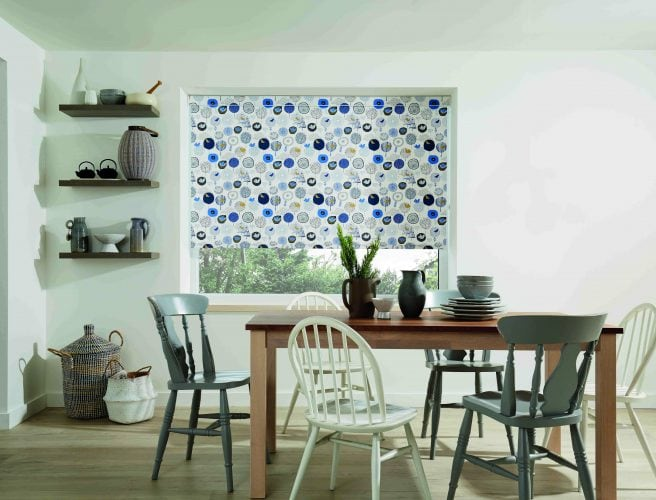 Fun blue bird design on white background - kitchen roller blind