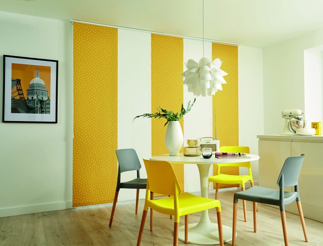 Panel blinds in Pico Mustard - Blinds Norfolk - Norwich Sunblinds