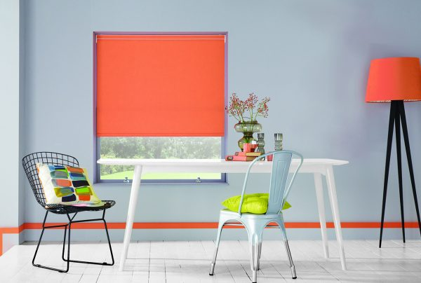 Made to measure Carnival Canteloupe roller blinds by Louvolite