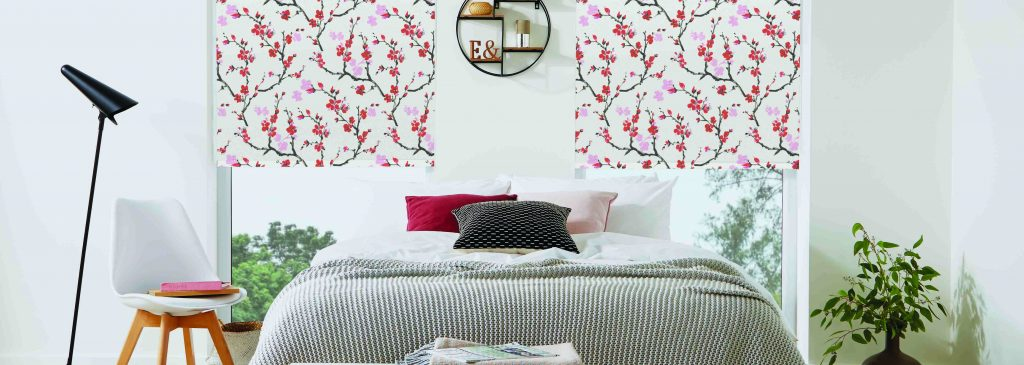 Cherry blossom patterned red roller blinds