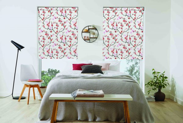 Cherry blossom patterned red roller blinds - Blinds Norfolk - Norwich Sunblinds