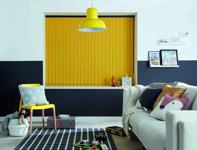Blackout fabric in bright yellow in teenager's room - Blinds Norfolk - Norwich Sunblinds