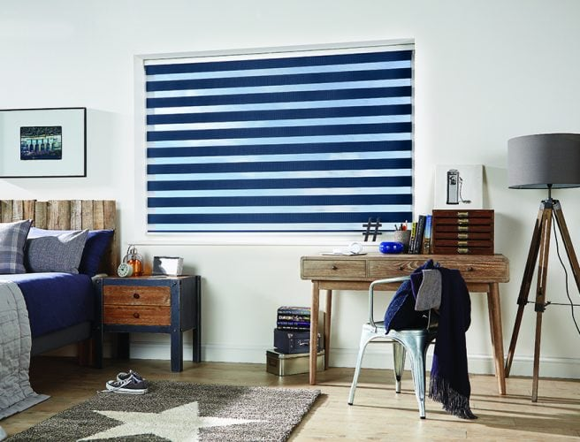Vision blinds: Capri Navy design from Louvolite 2017 collection