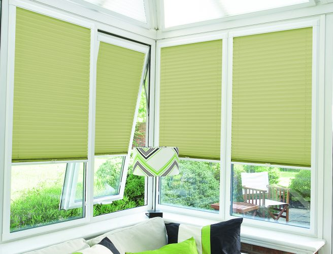 Perfect Fit Pleated Conservatory blinds: Pale Green - Blinds Norfolk - Norwich Sunblinds