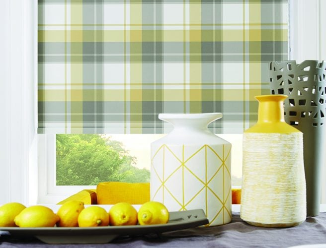 Roller blinds in Highland Ochre pattern