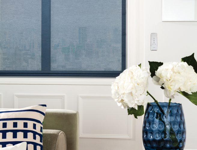 Cobalt Blue Motorised Blinds with a remote control.