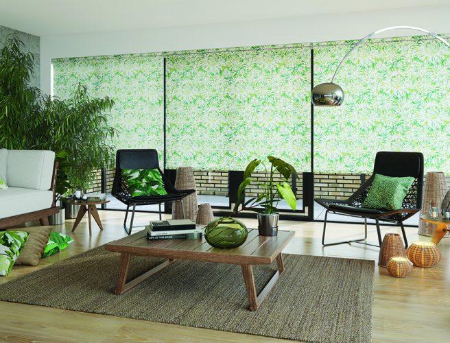Tropicana Apple roller blind in living room or garden room