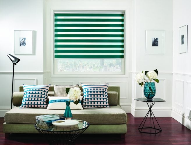 Roller Vision fabric blinds in Capri Jade