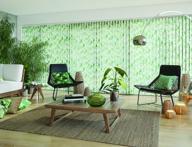 Vertical blinds: Tropicana Apple design from Louvolite 2017 collection